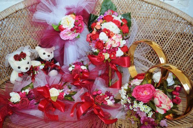 Украшение цветы на свадебную машину + кольца + мишки + 4 шт.на ручки.