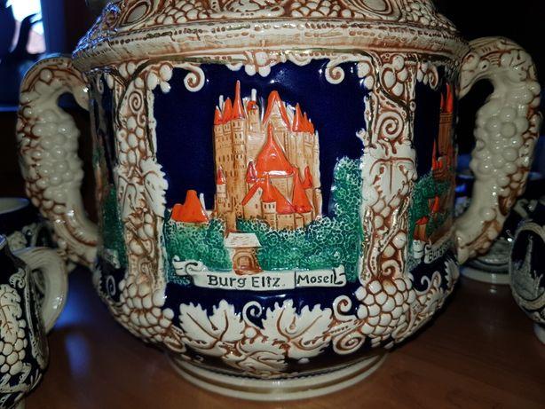 Stara ceramika zestaw do ponczu grzanego wina