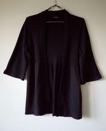 czarny sweterek narzutka z szerokim rękawem 3/4 rozmiar 42
