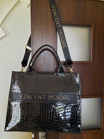 Torebka torba  teczka  Vincent Moore czarna lakierowana skóra  węża