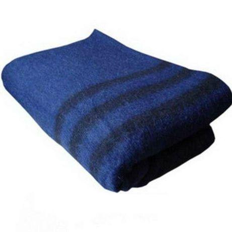 Одеяло армейское полушерстяное 140х205см (синее с черными полосами)