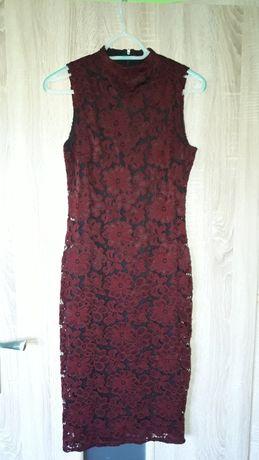 Śliczna sukienka bordowa koronka rozmiar 8 marki riwer island