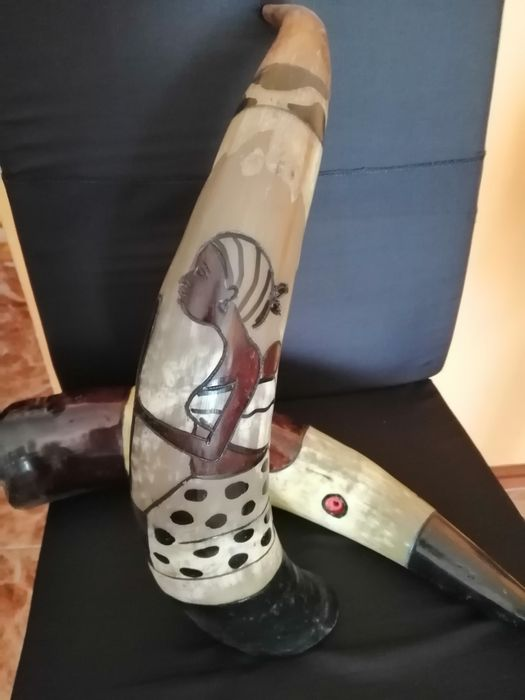 Cornos de boi pintados à mão 46cm/decoração/África Custóias, Leça Do Balio E Guifões - imagem 1