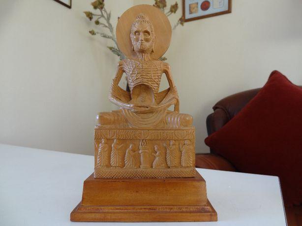 BUDA ASCÉTICO . Escultura ∟ Madeira de Teca