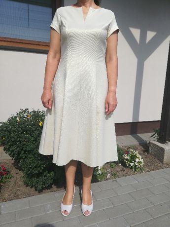 Złota Sukienka na wesele 40 L midi stan idealny