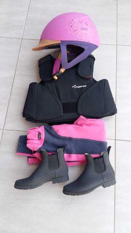 Kask jeździecki kamizelka ochronna bryczesy sztyblety dla dziewczynki