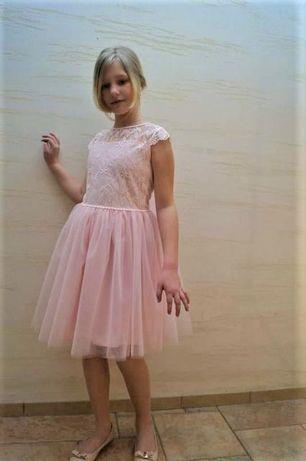 Sukienka dziewczęca z tiulem 134cm różowa