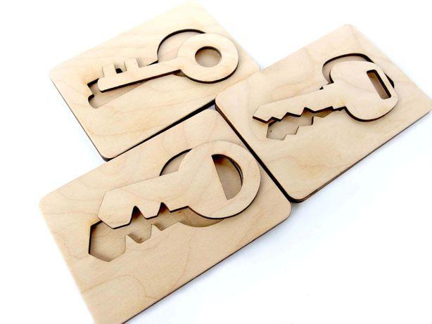 Układanka lewopółkulowa, drewniana klucze, mała motoryka, Montessori