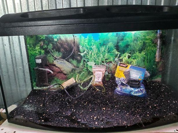 Akwarium panoramiczne 112 litrów z wyposażeniem