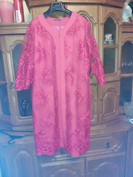 Sukienka damska 52 z koronkową narzutką