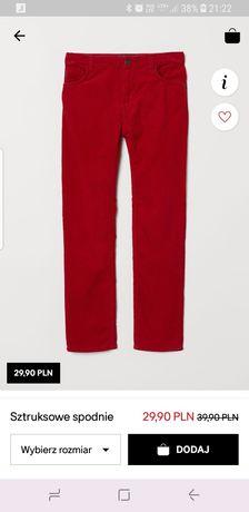 Czerwone sztruksy H&M Nowe rozm.140