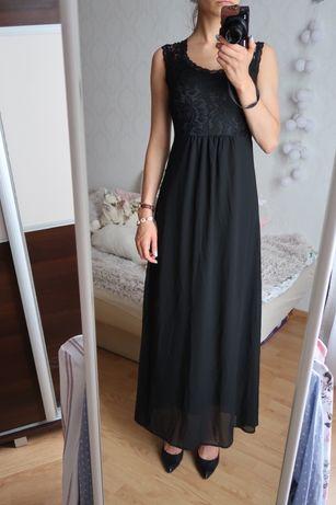 Czarna sukienka maxi koronka