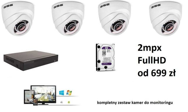zestaw kamer 4-32 kamery do monitoringu 2mpx FullHD 3 lata Gwarancji!