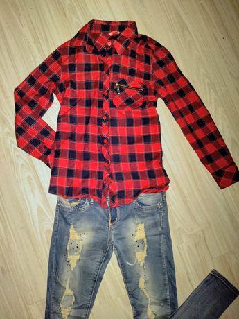 Koszula w kratę , czerwona ,rozmiar s