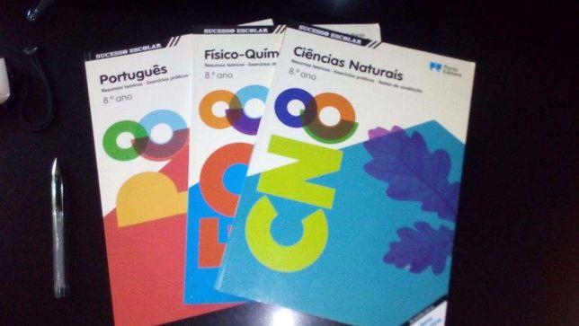 Livros de exercícios e testes das varias disciplinas, Por. CN FQ 8