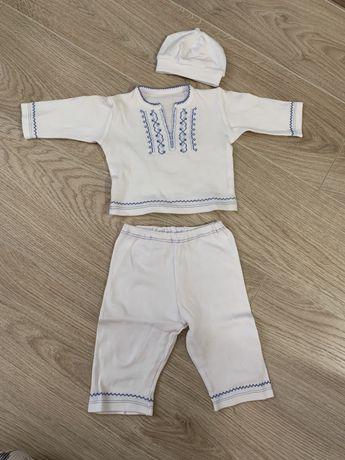 Костюм вышиванка детский для выписки крещения на возраст 0-6 месяцев