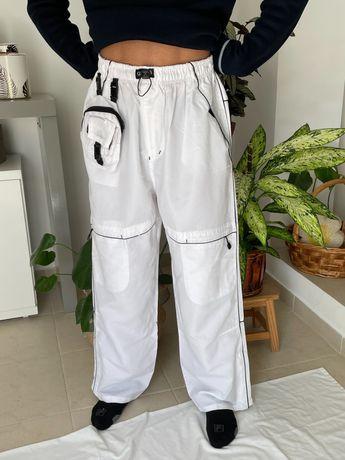 Calças brancas desportivas estilo retro vintage burberrys, unissexo