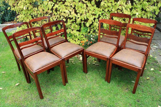 Artdecowskie 4 krzesła z połowy XX wieku.