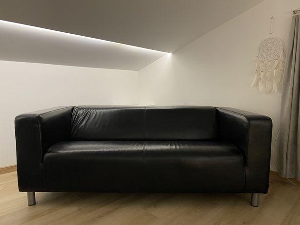 Komplet wypoczynkowy czarny IKEA skóra naturalna sofa + 2 fotele