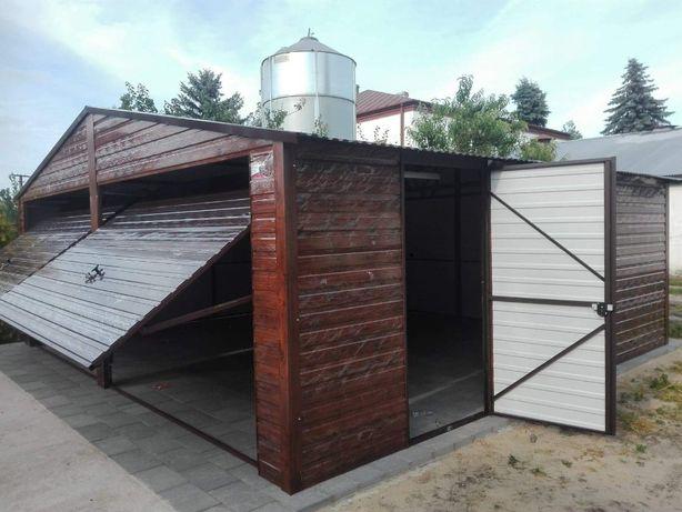 garaże blaszane drewnopodobne, garaż 7x6,wzmocniony, dwuspadowy dach