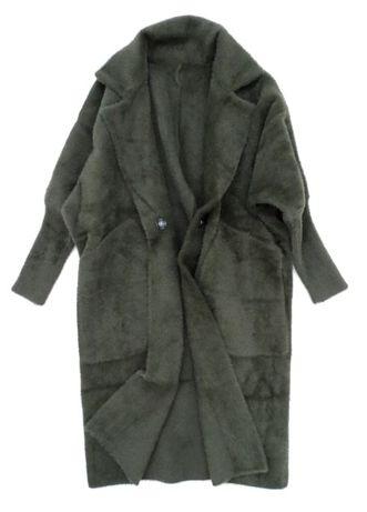 Włoski płaszcz wełna długa ALPAKA narzutka KHAKI zielona wełniany