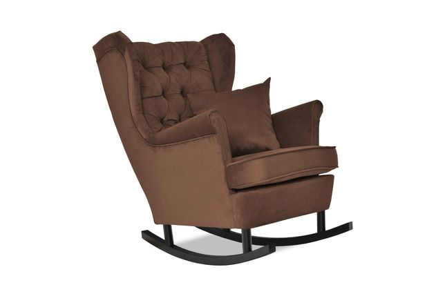 Fotel Uszak Gaja bujany czekoladowy ciemny brąz salon pokój sypialnia