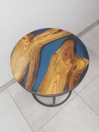 Stolik kawowy drewno, żywica