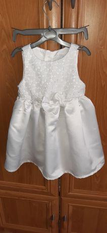 Sukienka biała z kokardką