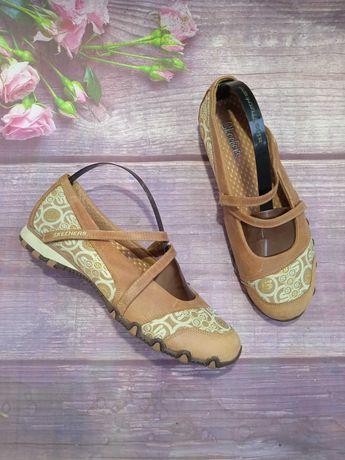 Skechers фирменные кожаные туфли босоножки оригинал.