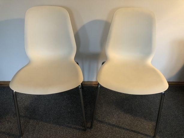 Białe krzesła, białe krzesło Ikea Leifarne 2 szt., stan bardzo dobry!
