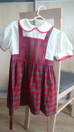 Sukienka dla dziewczynki 116/122 elegancka kratka biały czerwony