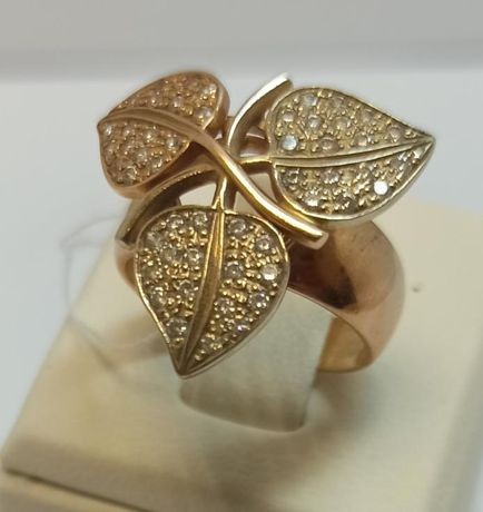 Кольцо из красного и желтого золота с цирконием (12670978) (12670978)