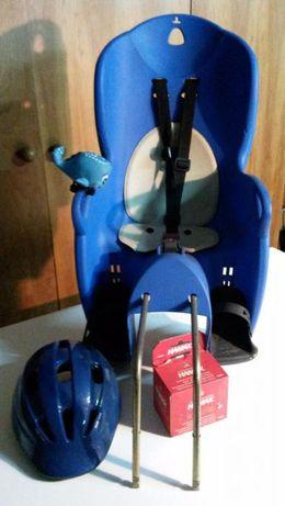 Cadeira de bicicleta para criança + capacete + mecanismo de fixação