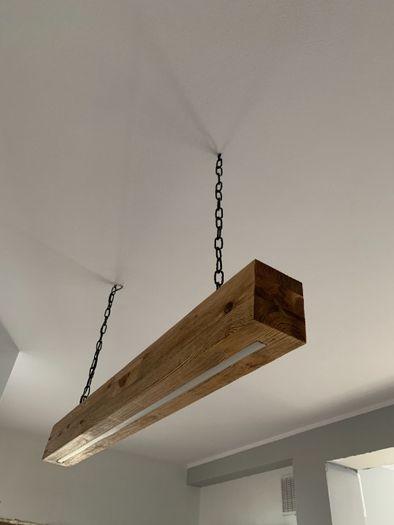 Lampa loftowa industrialna drewniana szczotkowana