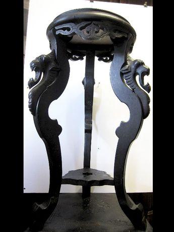 antiga floreira - mesa asiática esculpida em madeira e mármore-dragões