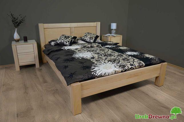 Łóżko drewniane do sypialni KING grube deski 4cm, solidne nogi 10x10cm