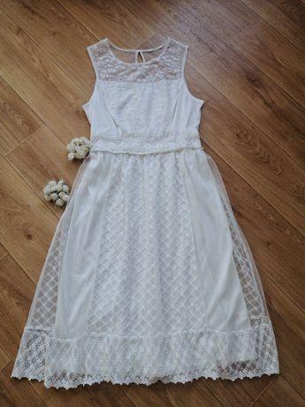 Платье миди кружевное сетка с пышной юбкой