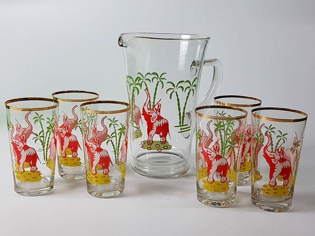 Dzbanek szklanki 6+1 VINTAGE do kompotu, napojów słonie, palmy l 60-te
