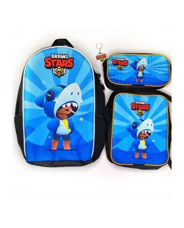 Набір рюкзак, сумка та пенал с Леон Акула Бравл Старс - на подарунок!
