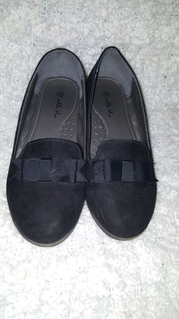 Buty pantofle baleriny czarne eleganckie 36