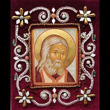 Рукописна икона преподобного Серафима Саровского