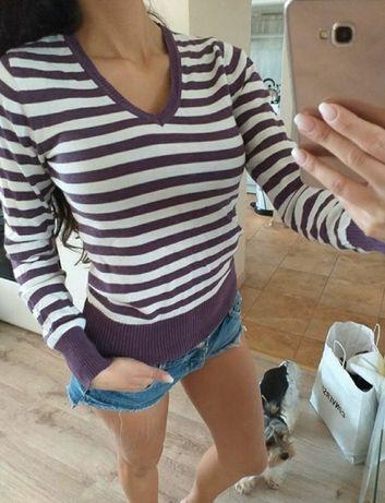 Sweterek w paski fiolet sweter fioletowy