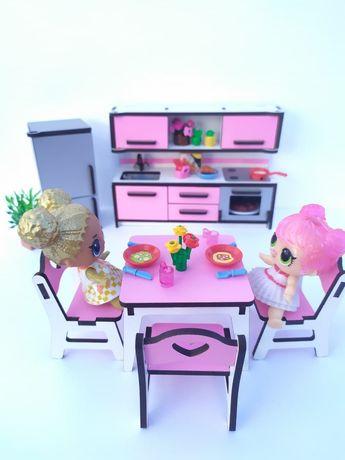 Комплект меблів для Лол кухня, холодильник, стіл і 4 стільці