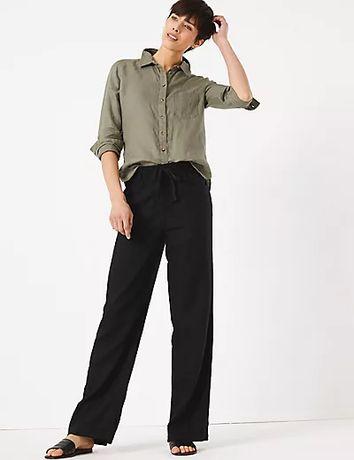 Новые льняные свободные брюки 46 р marks & spencer