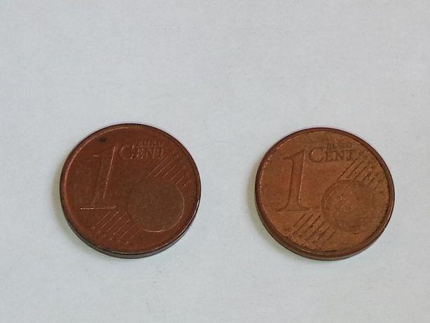 Монета 1 евро цент 2002 и 2004 годов