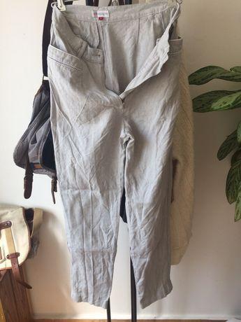 Conjunto calças e colete linho vintage / Calças ganga