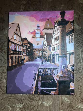 Картина акриловыми красками «городской пейзаж»