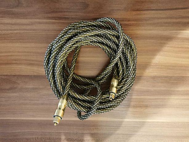 Kabel optyczny 5m w oplocie - pozłacane końcówki