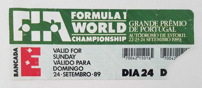 2 bilhetes do Grande Prémio de Portugal de Formula 1 1989