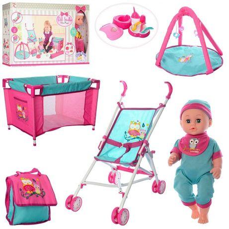 Пупс функциональный с кроваткой, коляской, ковриком для куклы, манежем